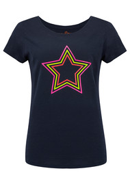 ON THE RISE Concentric Stars Tee - Fluro Multi