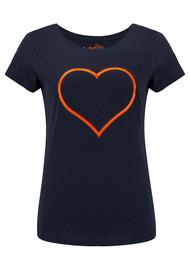 ON THE RISE Heart Outline Tee - Navy & Fluro Orange