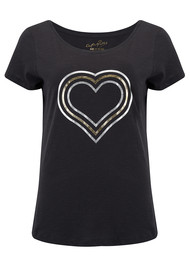 ON THE RISE Concentric Hearts Tee - Grey