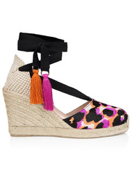 AIR & GRACE Shimmie Espadrille Wedge - Neon Leopard
