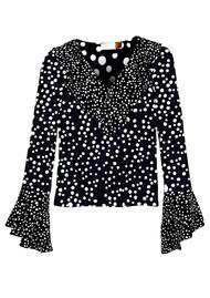 RIXO London Jane Silk Blouse - Disco Spot Black