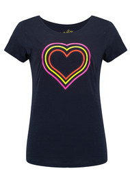 ON THE RISE Concentric Hearts Tee - Navy & Fluro