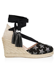 AIR & GRACE Shimmie Wedge Espadrille - Black Star