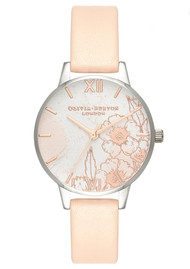 Olivia Burton Abstract Florals Midi Dial Watch - Nude Peach, Silver & Rose Gold