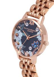 Olivia Burton Bejewelled Floral Navy Sunray Dial Bracelet Watch - Rose Gold