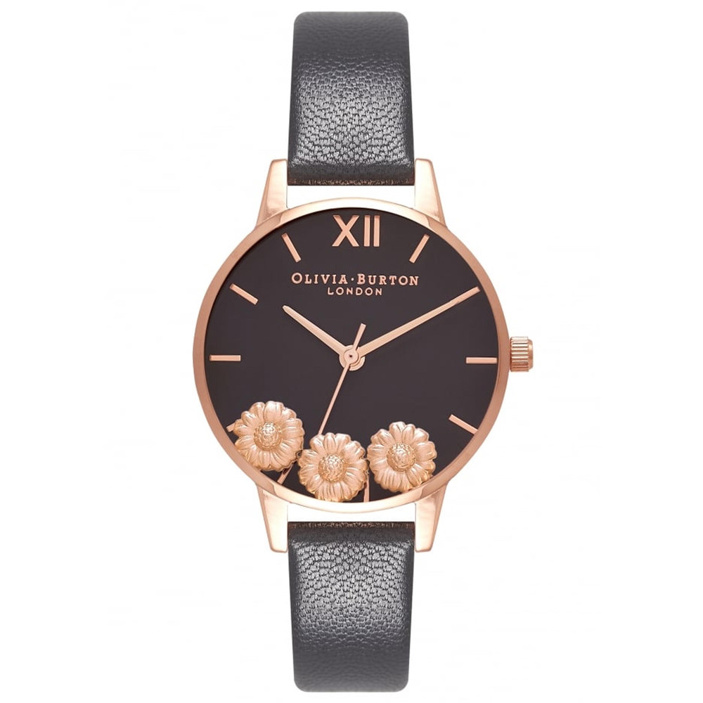 Dancing Daisy Midi Dial Watch - Black & Rose Gold