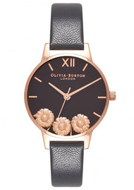 Olivia Burton Dancing Daisy Midi Dial Watch - Black & Rose Gold