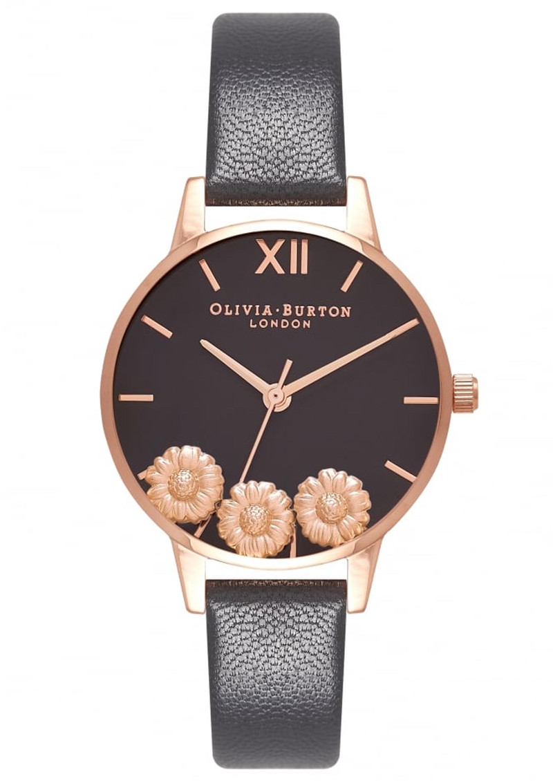 Olivia Burton Dancing Daisy Midi Dial Watch - Black   Rose Gold 7a0957d567