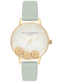 Olivia Burton Dancing Daisy Midi Dial Watch - Sage & Gold