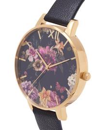 Olivia Burton Dark Bouquet Big Dial Watch - Black & Gold