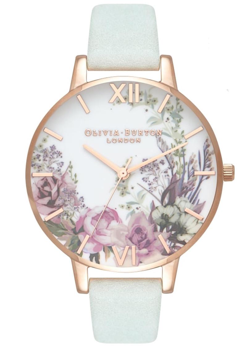 Olivia Burton Enchanted Garden Floral Watch - Sage & Rose Gold main image