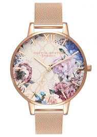 Olivia Burton Glasshouse Big Dial Watch - Rose Gold Mesh