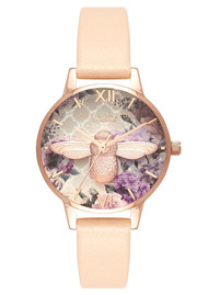 Olivia Burton Glasshouse 3D Bee Midi Dial Watch - Nude Peach & Rose Gold