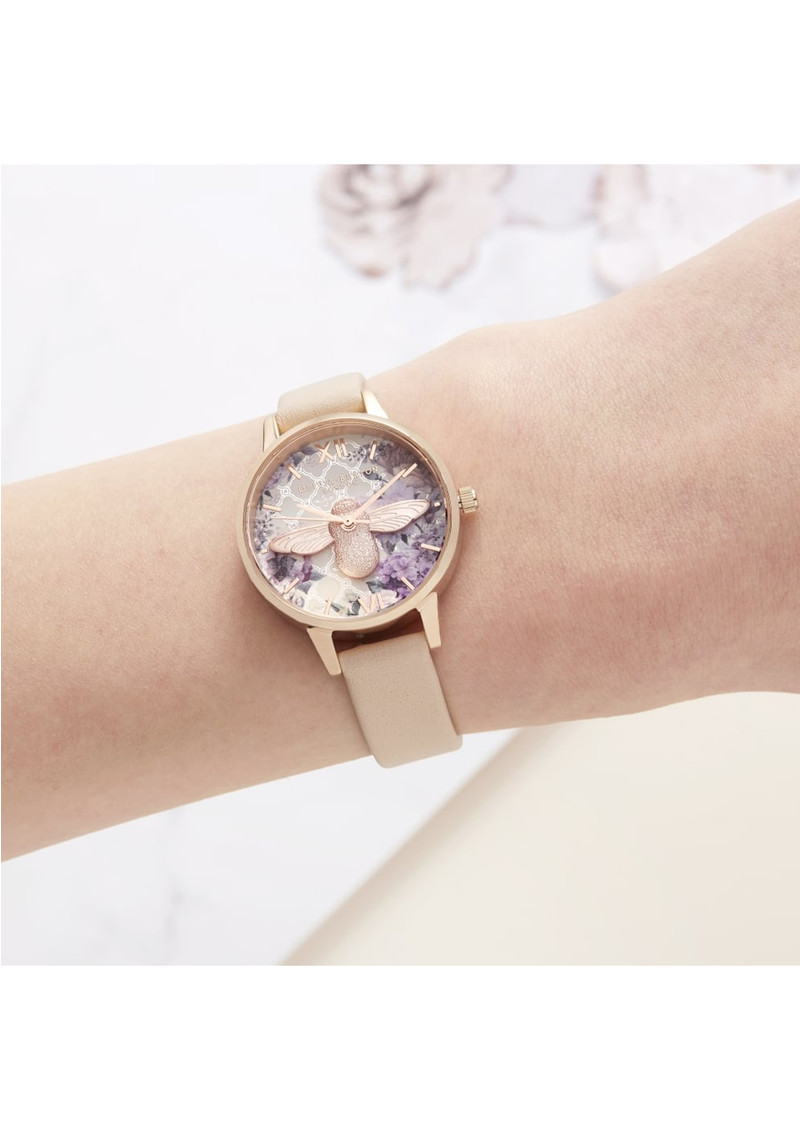 Glasshouse 3D Bee Midi Dial Watch - Nude Peach & Rose Gold main image