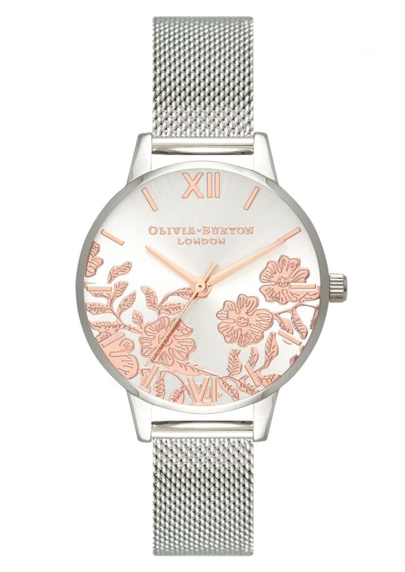 94dc589304d5 Olivia Burton Lace Detail Midi Dial Mesh Watch - Rose Gold   Silver
