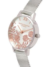 Olivia Burton Lace Detail Midi Dial Mesh Watch - Rose Gold & Silver