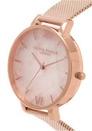 Olivia Burton Semi Precious Big Dial Mesh Watch - Rose Gold