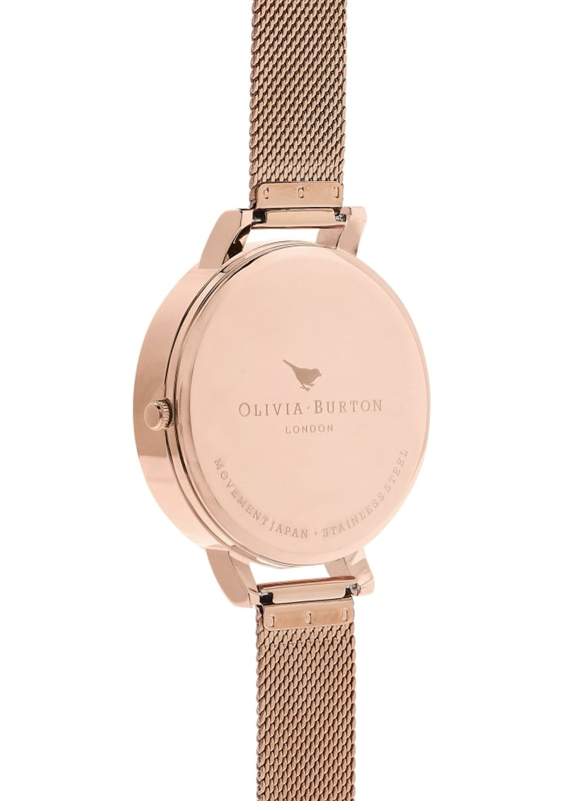 Olivia Burton Semi Precious Big Dial Mesh Watch - Rose Gold main image