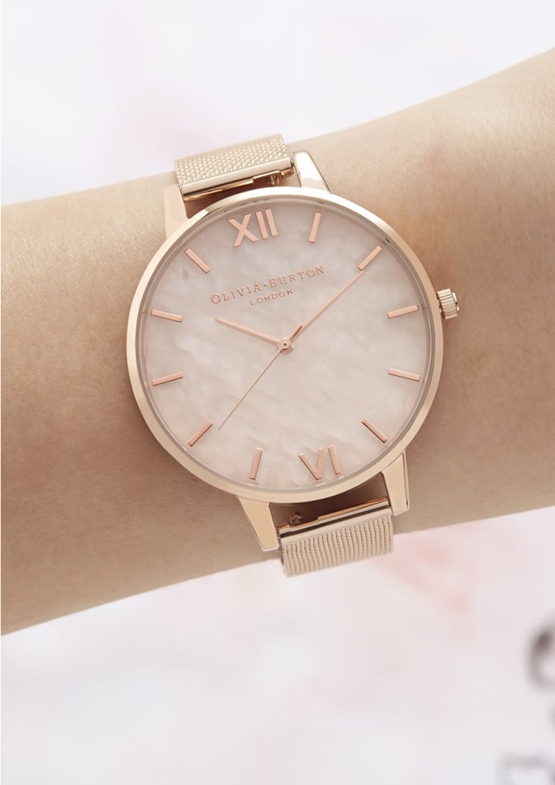 Semi Precious Big Dial Mesh Watch - Rose Gold main image