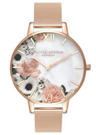Olivia Burton Marble Florals Big Dial Mesh Watch - Rose Gold