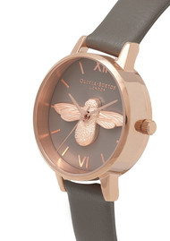 Olivia Burton Midi 3D Grey Dial Bee Watch - London Grey & Rose Gold