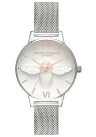 Olivia Burton Midi 3D Bee Mesh Watch - Silver & Rose Gold