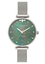 Olivia Burton Queen Bee Mesh Watch - Blue Mother of Pearl & Silver