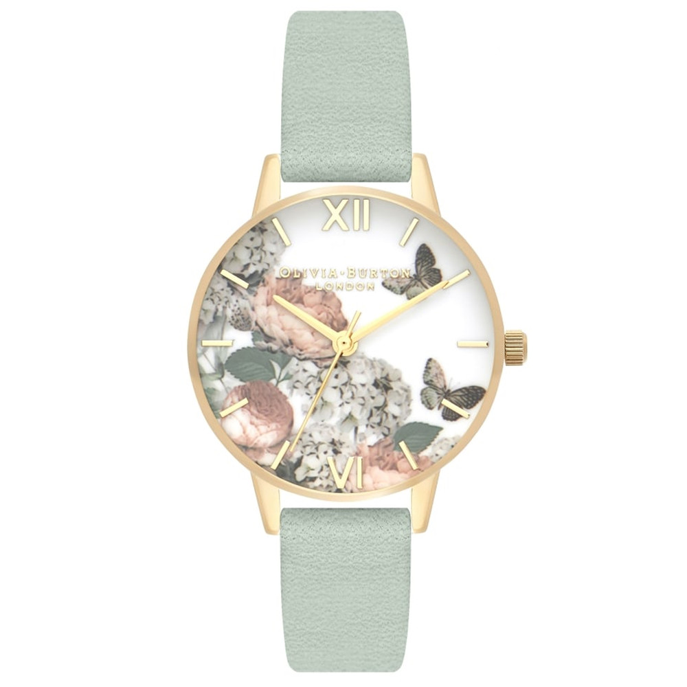 Signature Florals Midi Dial Watch - Sage & Gold