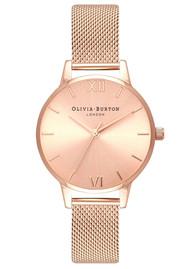 Olivia Burton Midi Dial Sunray Dial Mesh Watch - Rose Gold