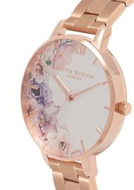Olivia Burton Watercolour Floral Big Dial Bracelet Watch - Rose Gold