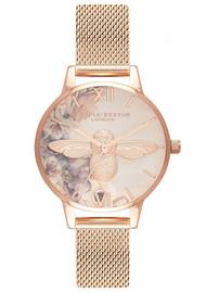 Olivia Burton Watercolour Florals Midi 3D Bee Mesh Watch - Rose Gold