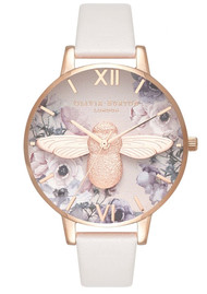 Olivia Burton Watercolour Floral 3D Bee Big Dial Watch - Blush & Rose Gold