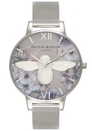 Olivia Burton Watercolour Florals Big Dial Mesh Watch - Silver