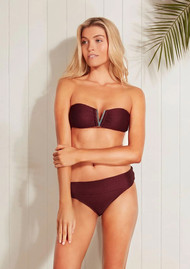 HEIDI KLEIN Monaco Fold Over Bikini Bottoms - Burgundy