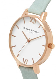 Olivia Burton Big Dial White Dial Watch - Sage & Rose Gold