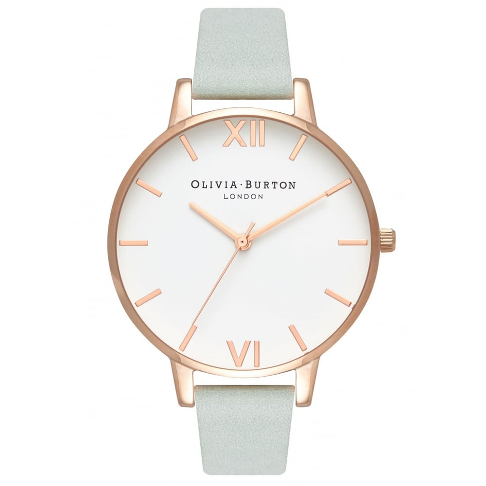 Big Dial White Dial Watch - Sage & Rose Gold