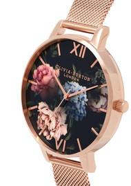 Olivia Burton Dark Bouquet Big Dial Mesh Watch - Rose Gold