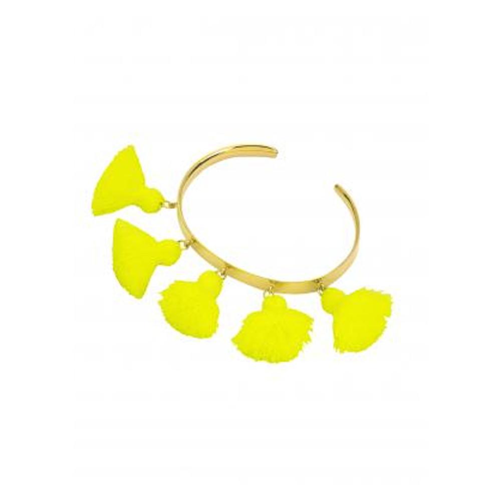 Raquel Tassel Bangle - Neon Yellow