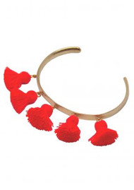 MARTE FRISNES JEWELLERY Raquel Tassel Bangle - Hot Orange