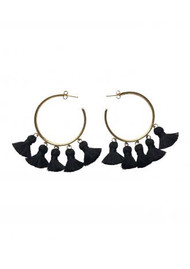 MARTE FRISNES JEWELLERY Raquel Tassel Hoop Earrings - Black & Gold