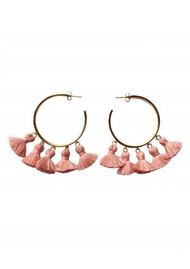 MARTE FRISNES JEWELLERY Raquel Tassel Hoop Earrings - Salmon & Gold