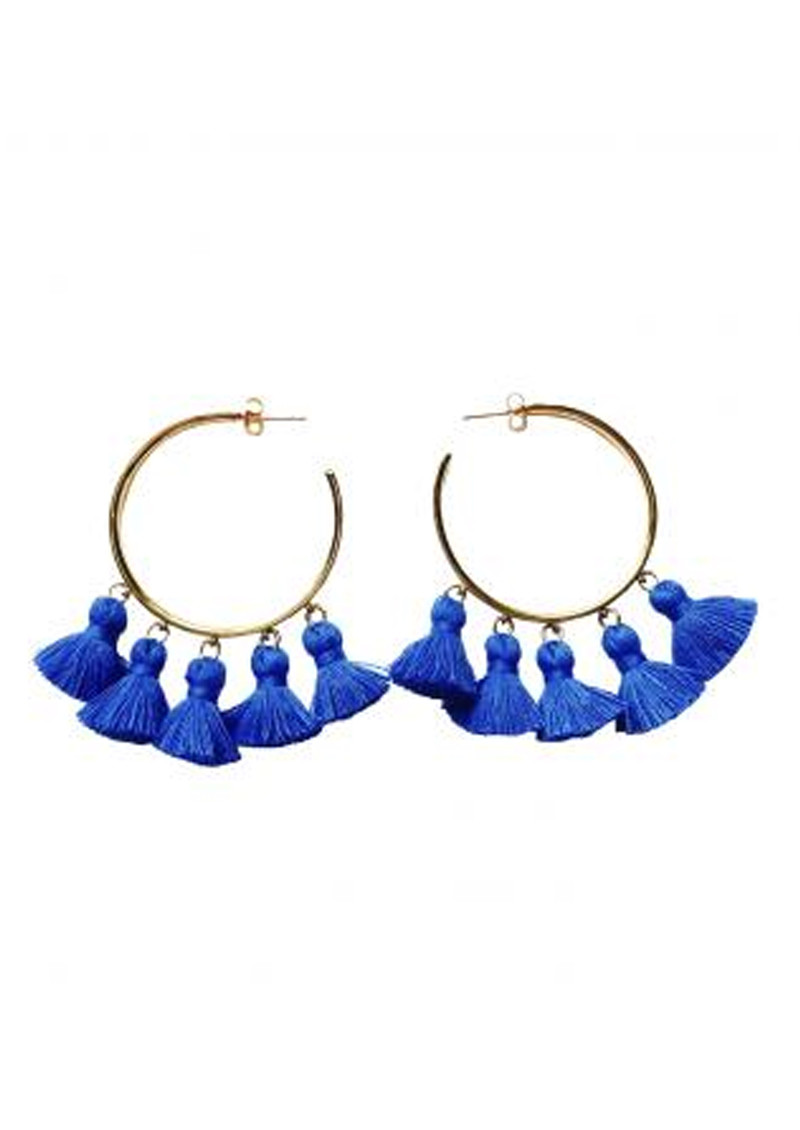MARTE FRISNES JEWELLERY Raquel Tassel Hoop Earrings - Blue & Gold main image