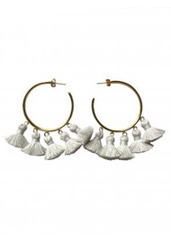 MARTE FRISNES JEWELLERY Raquel Tassel Hoop Earrings - Chalk & Gold