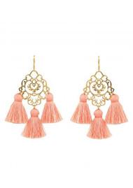 MARTE FRISNES JEWELLERY Rita Tassel Earrings - Dusty Pink