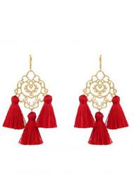 MARTE FRISNES JEWELLERY Rita Tassel Earrings - Red