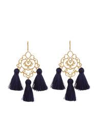 MARTE FRISNES JEWELLERY Rita Tassel Earrings - Navy