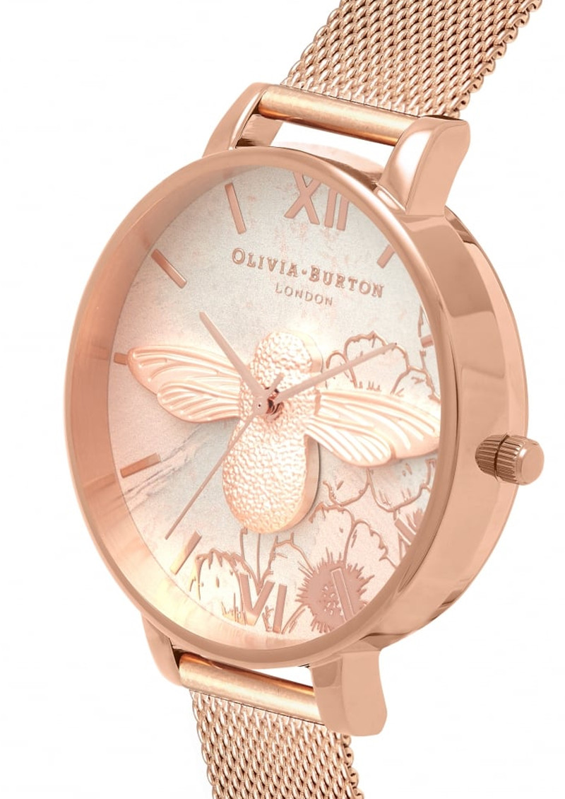 560fe9e83437 Olivia Burton Abstract Florals 3D Bee Mesh Watch - Rose Gold