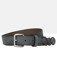 Liebeskind Leather Belt with Braiding - Steel Grey