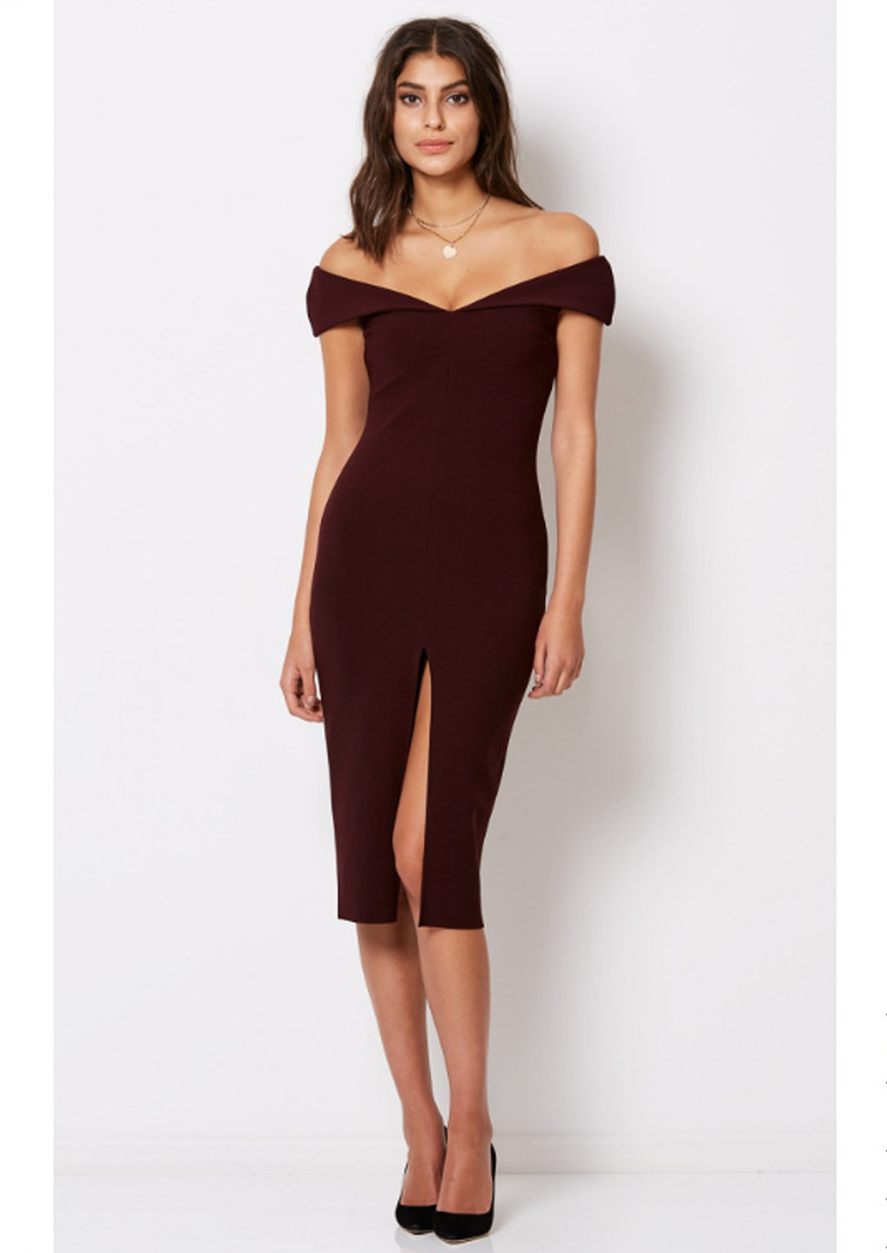 Cindy Off The Shoulder Dress - Wine main image