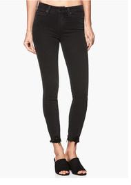 Paige Denim Margot Crop Ultra Skinny Jeans with Distressed Hem - Black Fog